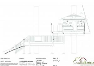 Lay-out deòòa casa sull'albero della British School di Gallarate, isolata con pannelli di sughero Corkpan