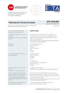 Frontespizio ETA 19.0481 (Marcatura CE) ISOVIT CORK in sughero CORKPAN