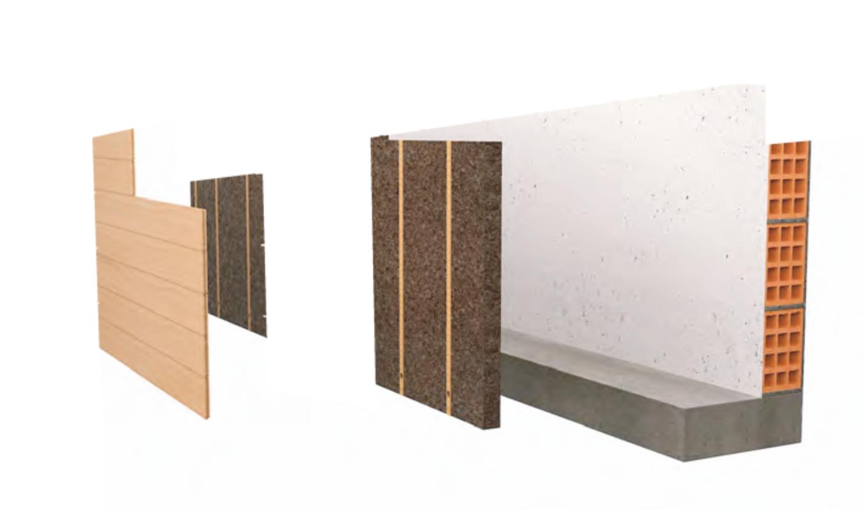 Stratigrafia del cappotto interno in sughero con rivestimento in legno