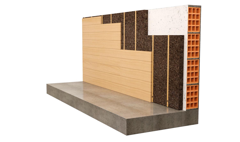 Cappotto interno realizzato con pannelli di sughero Cork-Self e con rivestimeno in legno