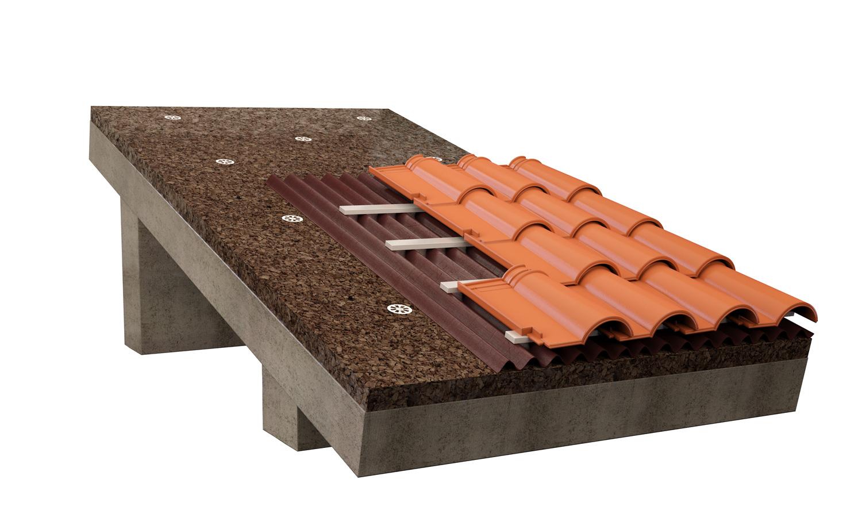 Isolamento in sughero tetto inclinato con copertura ondulata