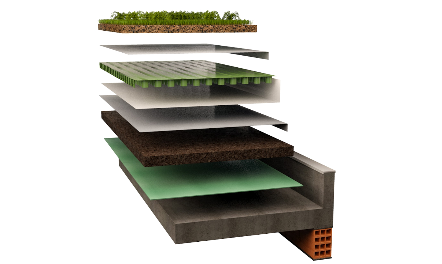 Dettaglio struttura di posa del tetto verde con i pannelli di sughero Corkpan