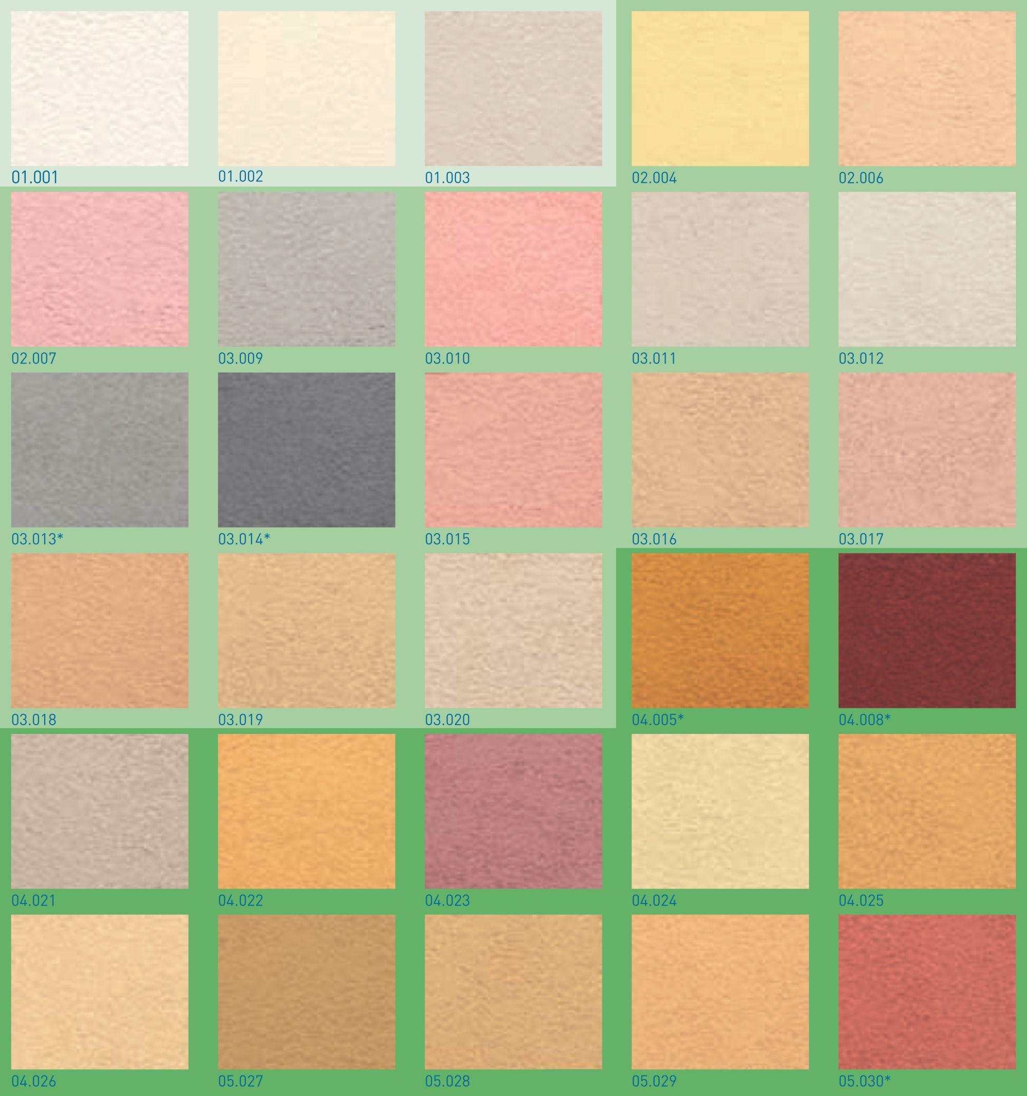 Colori disponibili per finitura silossanica REVDUR SL