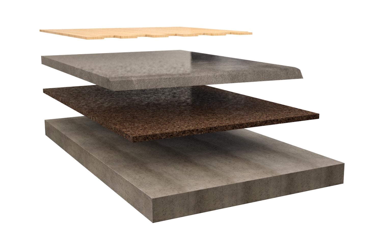 Dettaglio isolamento pavimento flottante in legno acustico in sughero Corkpan