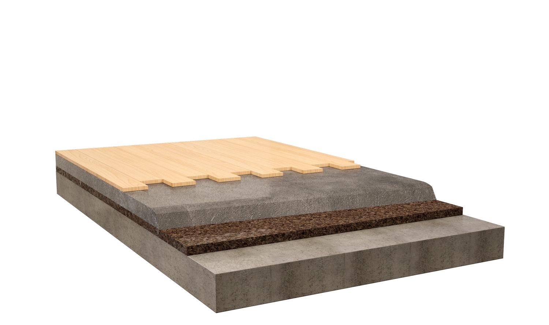 Isolamento acustico in sughero Corkpan pavimento flottante in legno