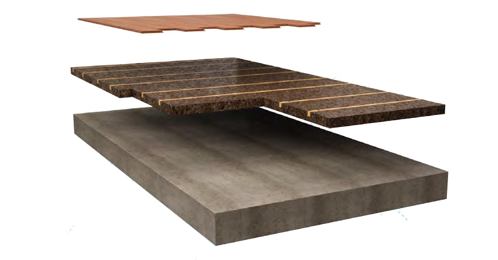 Dettaglio di posa del pannello in sughero Cork-Self come supporto per pavimenti inchiodati