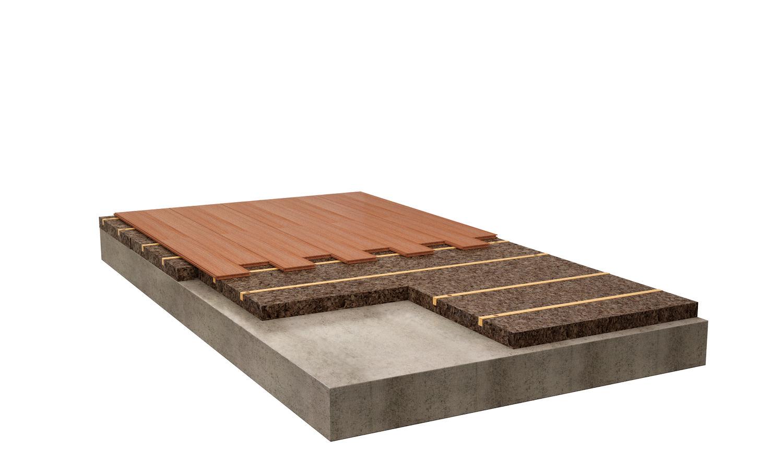 Uso del pannello isoalante Cork-Self il fissaggio di pavimenti inchiodati