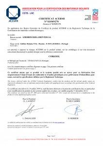 Certificato si qualità Acermi per il sughero Corkpan