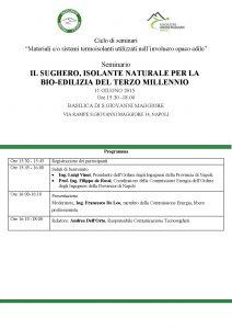 Tecnsougheri interviene al convegno organizzato dall'Ordine degli Ingegneri di Napoli per parlare di sughero in edilizia