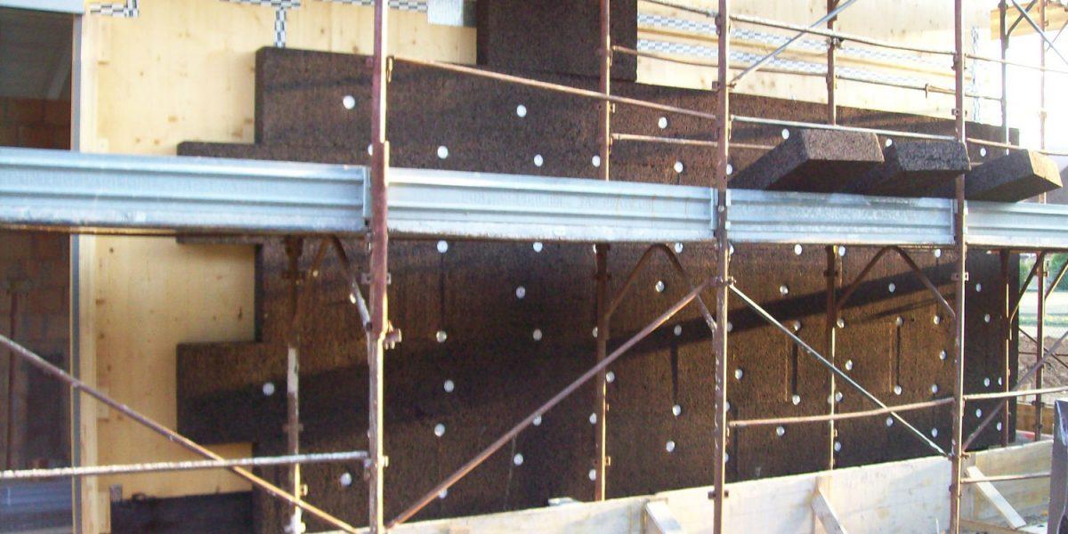 Cappotto in sughero Corkpan su parete XLAM