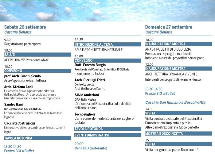 programma dell'evento di Milano del 26 settembre, organizzato da ANAB e Tecnsougehri