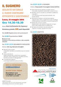 Locandina workshop Tecnosugheri e INBAR a LEcco