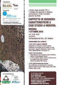 Locandina del workshop di Modena del 7 ottobre 2016 organizzato da Tecnosugheri e da DI.CO BIoedilizia