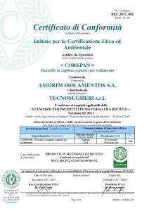 Certificato Recycled del pannello CORKPAN rilasciato da ICEA