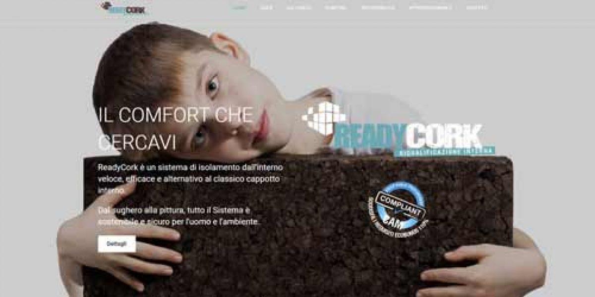 Homepage del sito readycork.it dedicato al sistema di isolamento a secco con sughero CORK-SELF ZERO