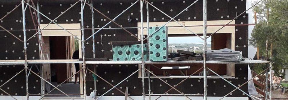 cappotto in sughero espanso CORKPAN su edificio in legno a Polignano