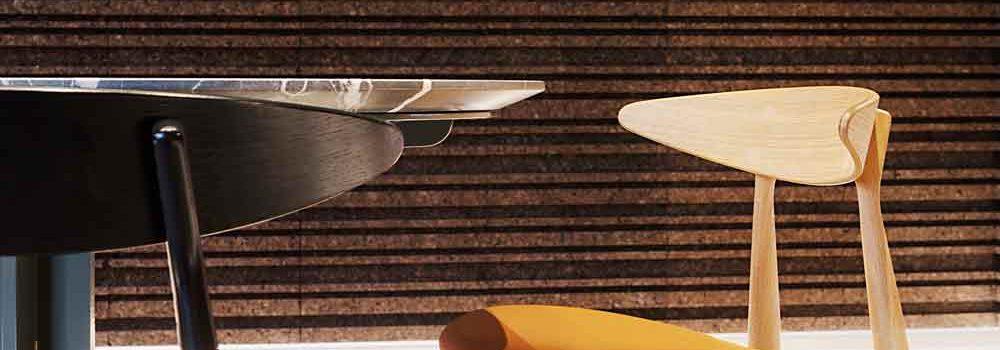 Le sale interne del ristorante milanese Altrimenti sono realizzate con sughero a vista DECORK BarCode